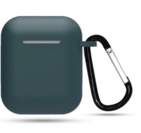 Silikonové pouzdro s karabinou pro Apple Airpods a Airpods 2019 modro-šedé