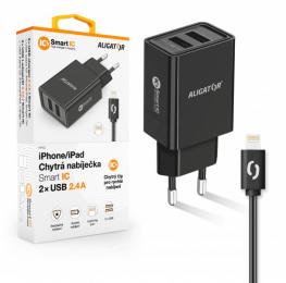 Nabíječka Aligator CHA0035 Smart IC 2x USB 2.4A s lightning kabelem černá