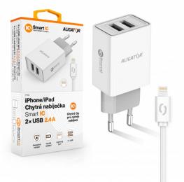 Nabíječka Aligator CHA0036 Smart IC 2x USB 2.4A s lightning kabelem bílá