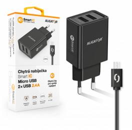 Nabíječka Aligator CHA0031 Smart IC 2x USB 2.4A s MicroUSB kabelem černá