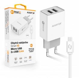 Nabíječka Aligator CHA0032 Smart IC 2x USB 2.4A s MicroUSB kabelem bílá