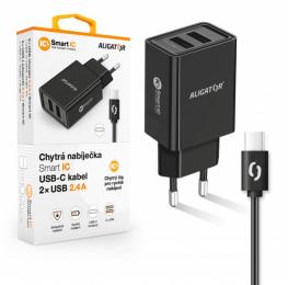 Nabíječka Aligator CHA0033 Smart IC 2x USB 2.4A s USB-C kabelem černá