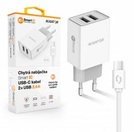 Nabíječka Aligator CHA0034 Smart IC 2x USB 2.4A s USB-C kabelem bílá