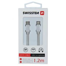 Datový kabel Swissten Textile USB-C na Lightning 1.2m stříbrný