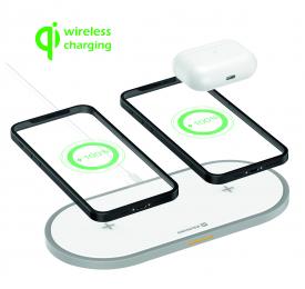 Bezdrátová nabíječka Swissten Wireless 2v1 bílá
