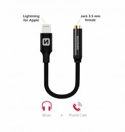 Audio redukce Swissten Textile Lightning/3.5mm jack konektor černá