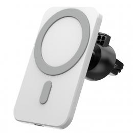 Držák do ventilační mřížky auta s podporou MagSafe a Qi bezdrátového nabíjení bílý