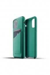 Pouzdro MUJJO Full Leather Wallet Case pro Apple iPhone 11 Pro zelené
