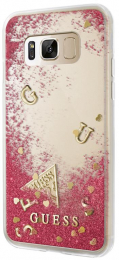 GUHCS8LGLUFLRA Guess Liquid Glitter Hard Case Rapsberry pro Samsung G955 Galaxy S8 Plus
