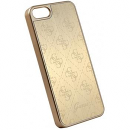 GUHCPSEMEGO Guess 4G Aluminium Pouzdro Gold pro iPhone 5/5S/SE