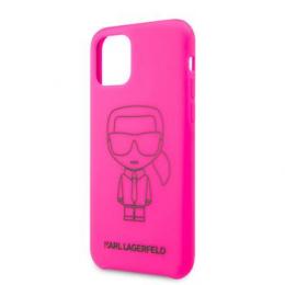 KLHCN58SILFLPI Karl Lagerfeld Silikonový Kryt pro iPhone 11 Pro Black Out Pink