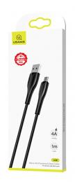 USAMS SJ375 Fast Charge 4A microUSB Datový Kabel 1m Black (EU Blister)