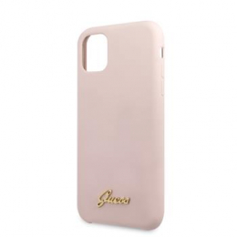 GUHCN65LSLMGLP Guess Silicone Vintage Zadní Kryt pro iPhone 11 Pro Max Pink (EU Blister)