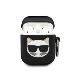 KLACA2SILCHBK Karl Lagerfeld Choupette Head Silikonové Pouzdro pro Airpods 1/2 Black