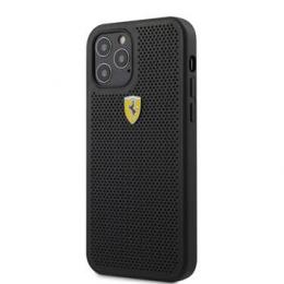 FESPEHCP12MBK Ferrari On Track Perforated Zadní Kryt pro iPhone 12/12 Pro 6.1 Black