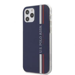 USHCP12MPCUSSNV U.S. Polo PC/TPU Tricolor Vertical Stripes Kryt pro iPhone 12/12 Pro 6.1 Navy