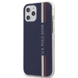 USHCP12LPCUSSNV U.S. Polo PC/TPU Tricolor Vertical Stripes Kryt pro iPhone 12 Pro Max 6.7 Navy