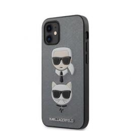 KLHCP12SSAKICKCSL Karl Lagerfeld Saffiano K&C Heads Kryt pro iPhone 12 mini 5.4 Silver