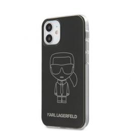 KLHCP12SPCUMIKBK Karl Lagerfeld PC/TPU Metallic Iconic Outline Kryt pro iPhone 12 mini 5.4 Black