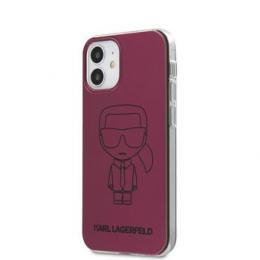 KLHCP12SPCUMIKPI Karl Lagerfeld PC/TPU Metallic Iconic Outline Kryt pro iPhone 12 mini 5.4 Pink