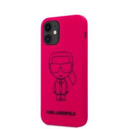 KLHCP12SSILFLPI Karl Lagerfeld Iconic Outline Silikonový Kryt pro iPhone 12 mini 5.4 Pink