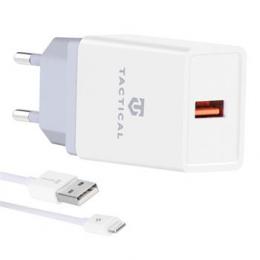 Tactical LZ-067 USB-A 3.1A Cestovní Nabíječka + Kabel pro iPhone White