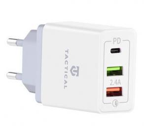 Tactical AR-QC-PD 2xUSB-A/USB-C QC 3.0 5.4A Cestovní Nabíječka White
