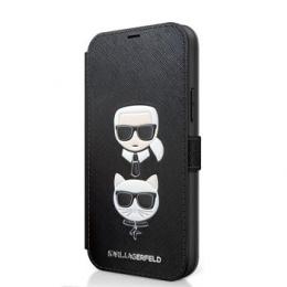 KLFLBKP12SSAKICKCBK Karl Lagerfeld Saffiano K&C Heads Book Pouzdro pro iPhone 12 mini 5.4 Black