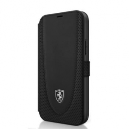 FEOGOFLBKP12SBK Ferrari Off Track Perforated Kožené Pouzdro pro iPhone 12 mini 5.4 Black