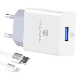 Tactical AR-30 USB-A QC 3.0 2,5A Cestovní Nabíječka + Opletený Kabel pro iPhone White