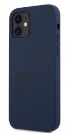 GUHCP12SLSVSBL Guess Silicone Vintage Zadní Kryt pro iPhone 12 mini 5.4 Blue
