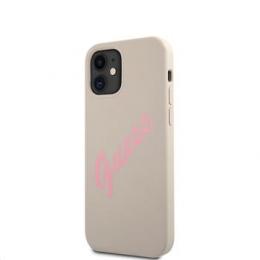 GUHCP12SLSVSGP Guess Silicone Vintage Pink Script Zadní Kryt pro iPhone 12 mini 5.4 Grey