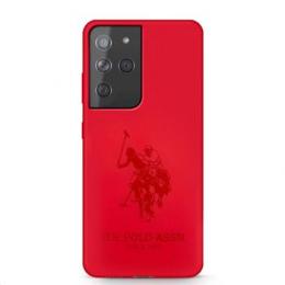 USHCS21LSLHRTRE U.S. Polo Double Horse Silikonový Kryt pro Samsung Galaxy S21 Ultra Red