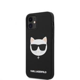 KLHCP12SSLCHBK Karl Lagerfeld Choupette Head Silikonový Kryt pro iPhone 12 mini 5.4 Black