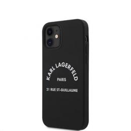 KLHCP12SSLSGRBK Karl Lagerfeld Rue St Guillaume Silikonový Kryt pro iPhone 12 mini 5.4 Black