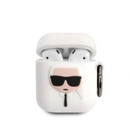 KLACCSILKHWH Karl Lagerfeld Karl Head Silikonové Pouzdro pro Airpods 1/2 White