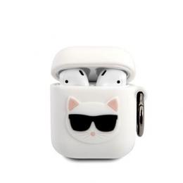KLACA2SILCHWH Karl Lagerfeld Choupette Head Silikonové Pouzdro pro Airpods 1/2 White