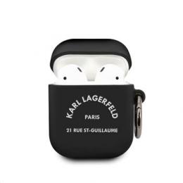 KLACA2SILRSGBK Karl Lagerfeld Rue St Guillaume Silikonové Pouzdro pro Airpods 1/2 Black