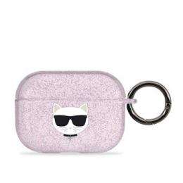 KLAPUCHGP Karl Lagerfeld TPU Glitter Choupette Head Pouzdro pro Airpods Pro Pink