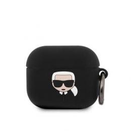 KLACA3SILKHBK Karl Lagerfeld Karl Head Silikonové Pouzdro pro Airpods 3 Black