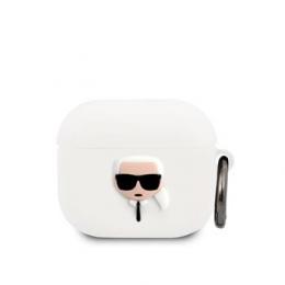 KLACA3SILKHWH Karl Lagerfeld Karl Head Silikonové Pouzdro pro Airpods 3 White