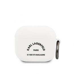 KLACA3SILRSGWH Karl Lagerfeld Rue St Guillaume Silikonové Pouzdro pro Airpods 3 White