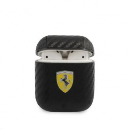 FESA2CABK Ferrari Carbon PC/PU Pouzdro pro Airpods 1/2 Black