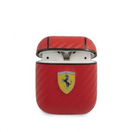 FESA2CARE Ferrari Carbon PC/PU Pouzdro pro Airpods 1/2 Red