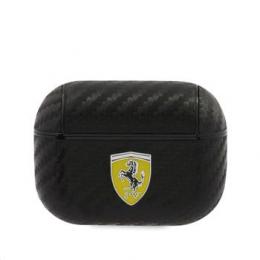 FESAPCABK Ferrari Carbon PC/PU Pouzdro pro Airpods Pro Black