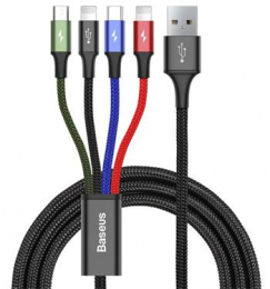 Baseus CA1T4-A01 Fast 4in1 Kabel 2x Lightning, USB-C, MicroUSB 3.5A 1.2m Black