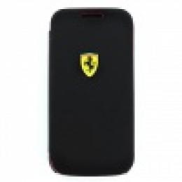 FESCRUFLHS4MBL Ferrari Rubber Kožené Book Pouzdro pro Samsung i9195