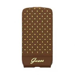 GUFLS4PEC Guess Gianina Flip Kožené Pouzdro Cognac pro Samsung i9505 Galaxy S4