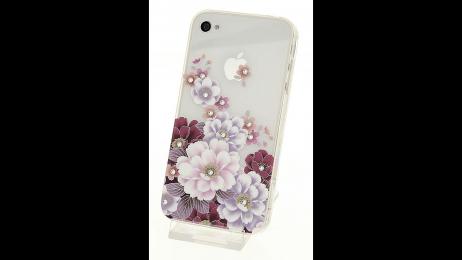 Silikonové pouzdro pro iPhone 4 a iPhone 4S květinová záda