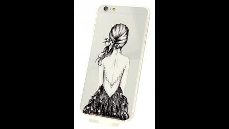 Plastový zadní kryt pro iPhone 6 Plus a iPhone 6S Plus dáma s peřím